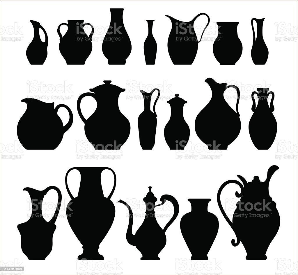 Vector silhouettes of vases. Isolated on white crockery vector art illustration