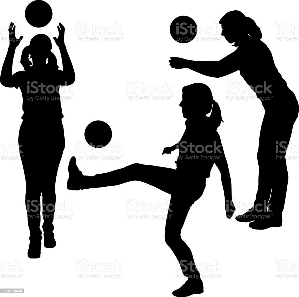 Vector silhouettes of women in sport. royalty-free stock vector art