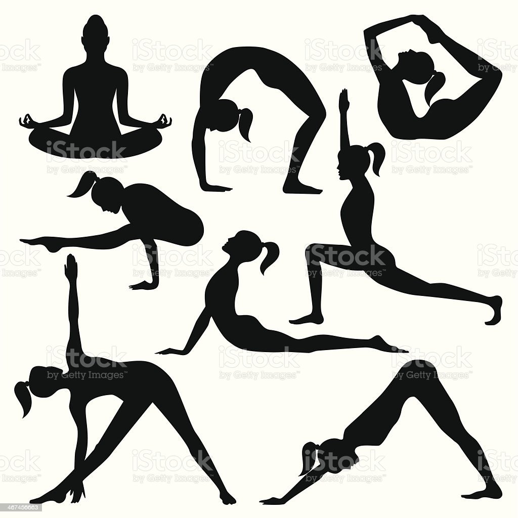 Vector silhouettes of yoga positions vector art illustration