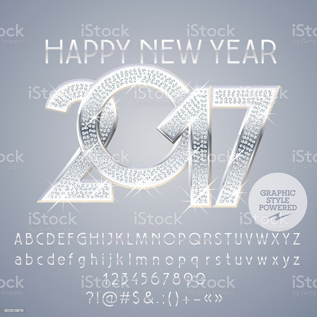 Vector silver chic Happy New Year 2017 greeting card vector art illustration