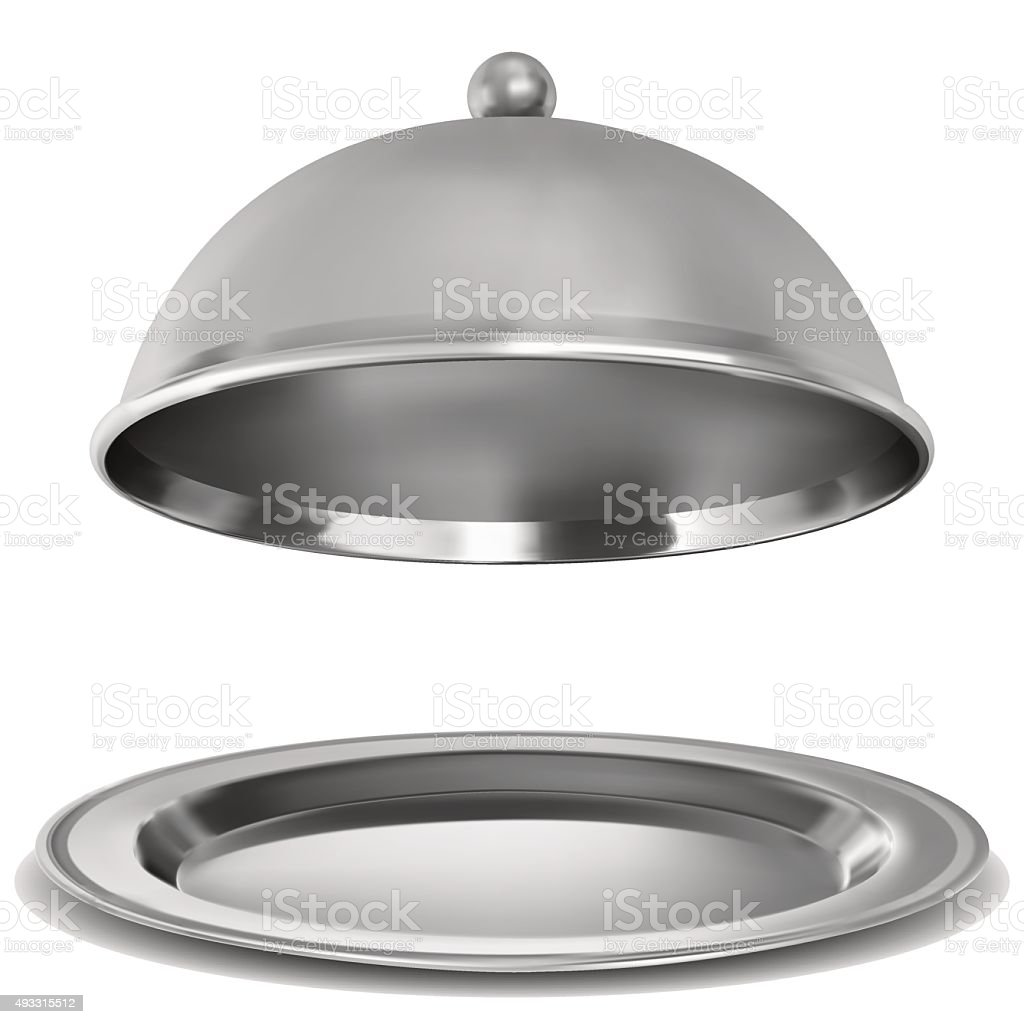 Vector silver opened cloche on white background vector art illustration
