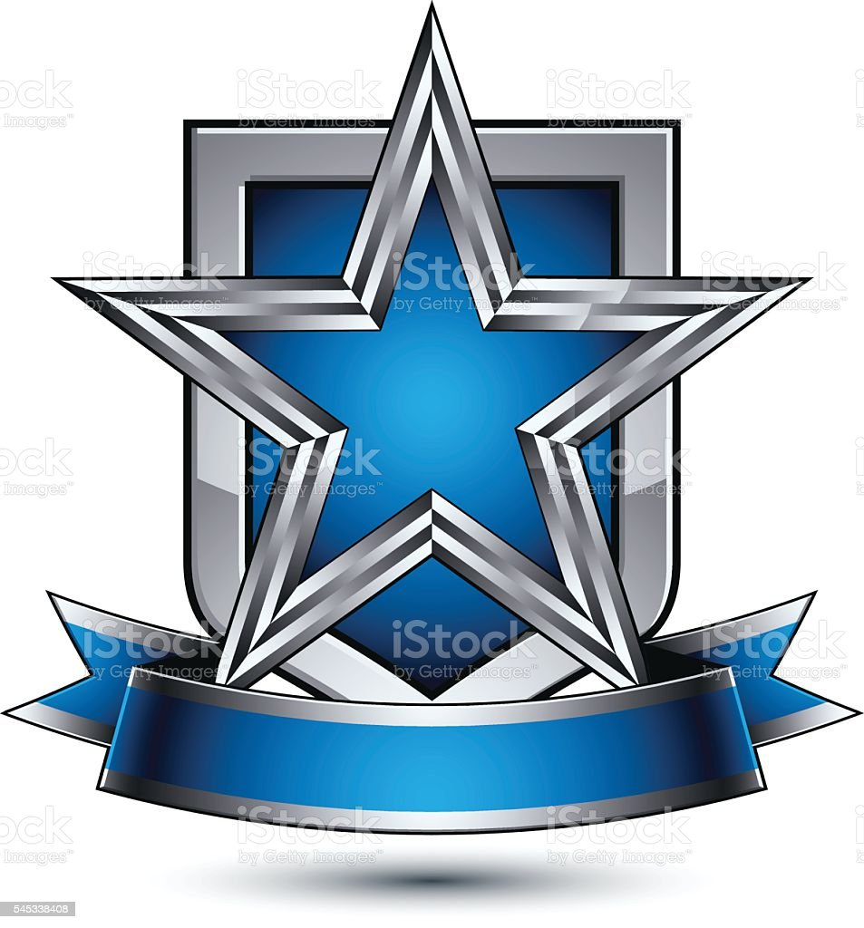 Vector silver star with wavy ribbon placed on protection shield vector art illustration