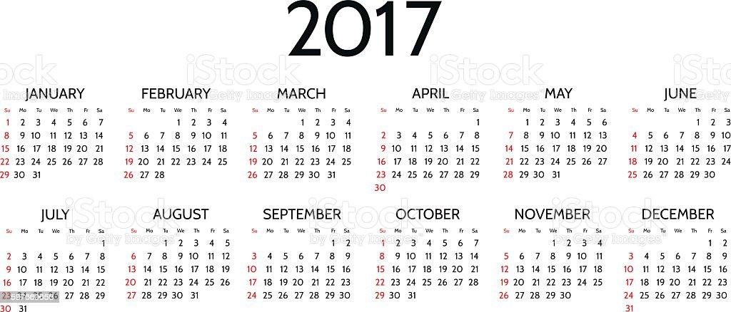 Vector Simple 2017 year calendar vector art illustration