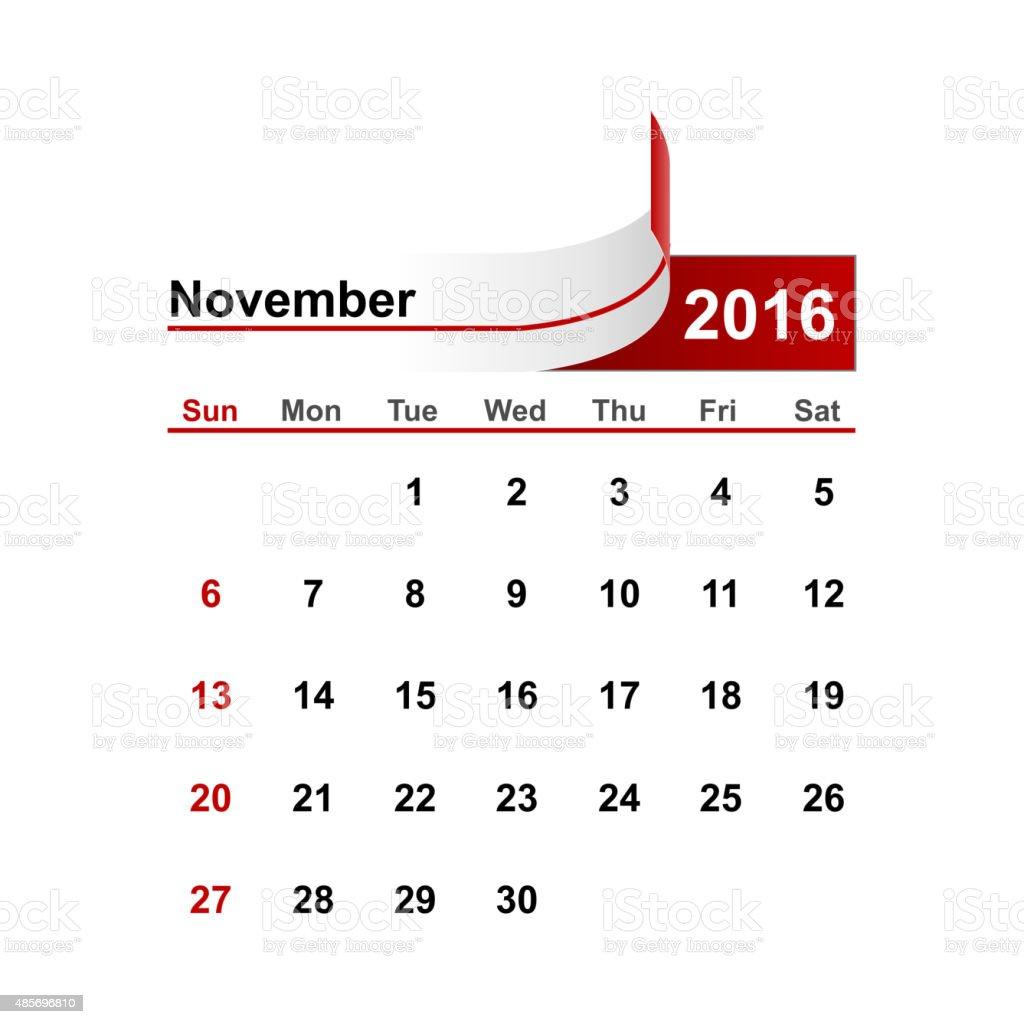 Vector simple calendar 2016 year november month. vector art illustration
