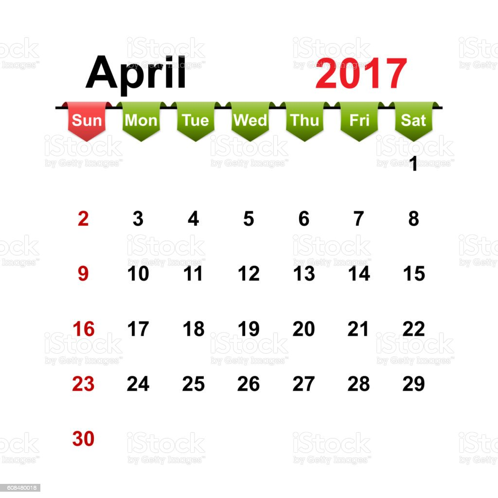 Vector simple calendar 2017 year april month. vector art illustration