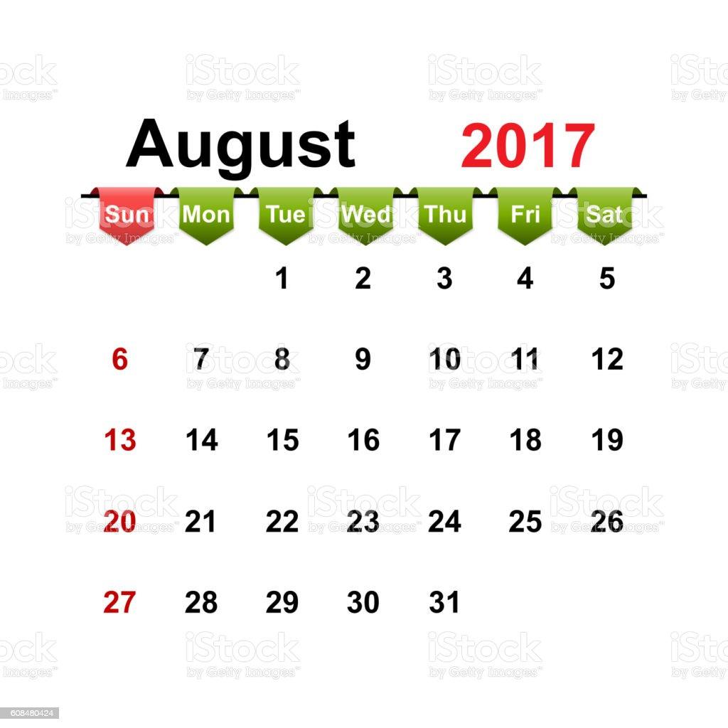 Vector simple calendar 2017 year august month. vector art illustration