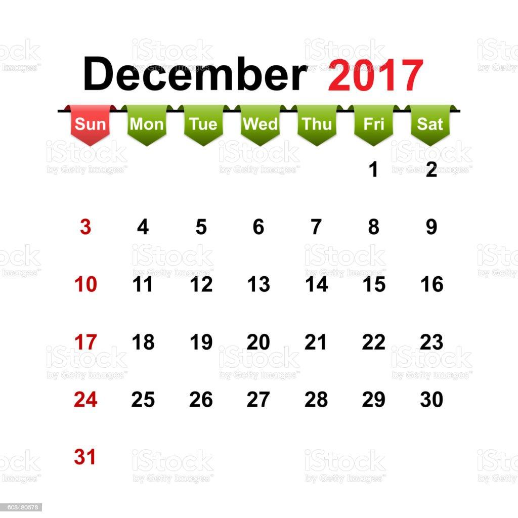 Vector simple calendar 2017 year december month. vector art illustration
