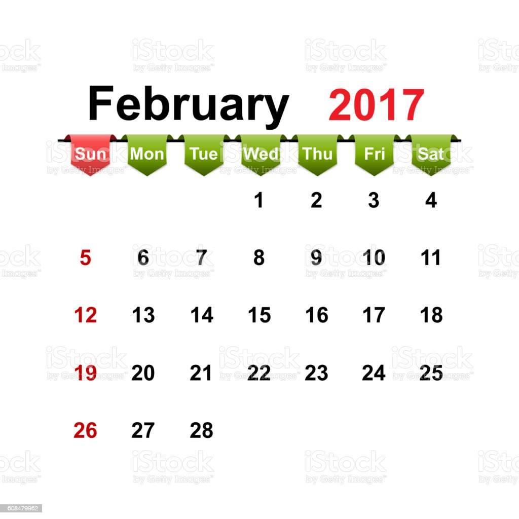 Vector simple calendar 2017 year february month. vector art illustration