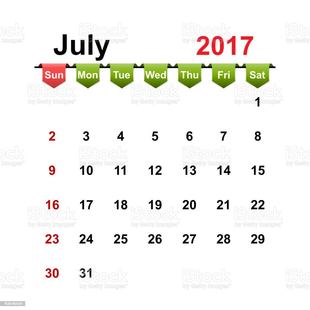 Vector simple calendar 2017 year july month. vector art illustration