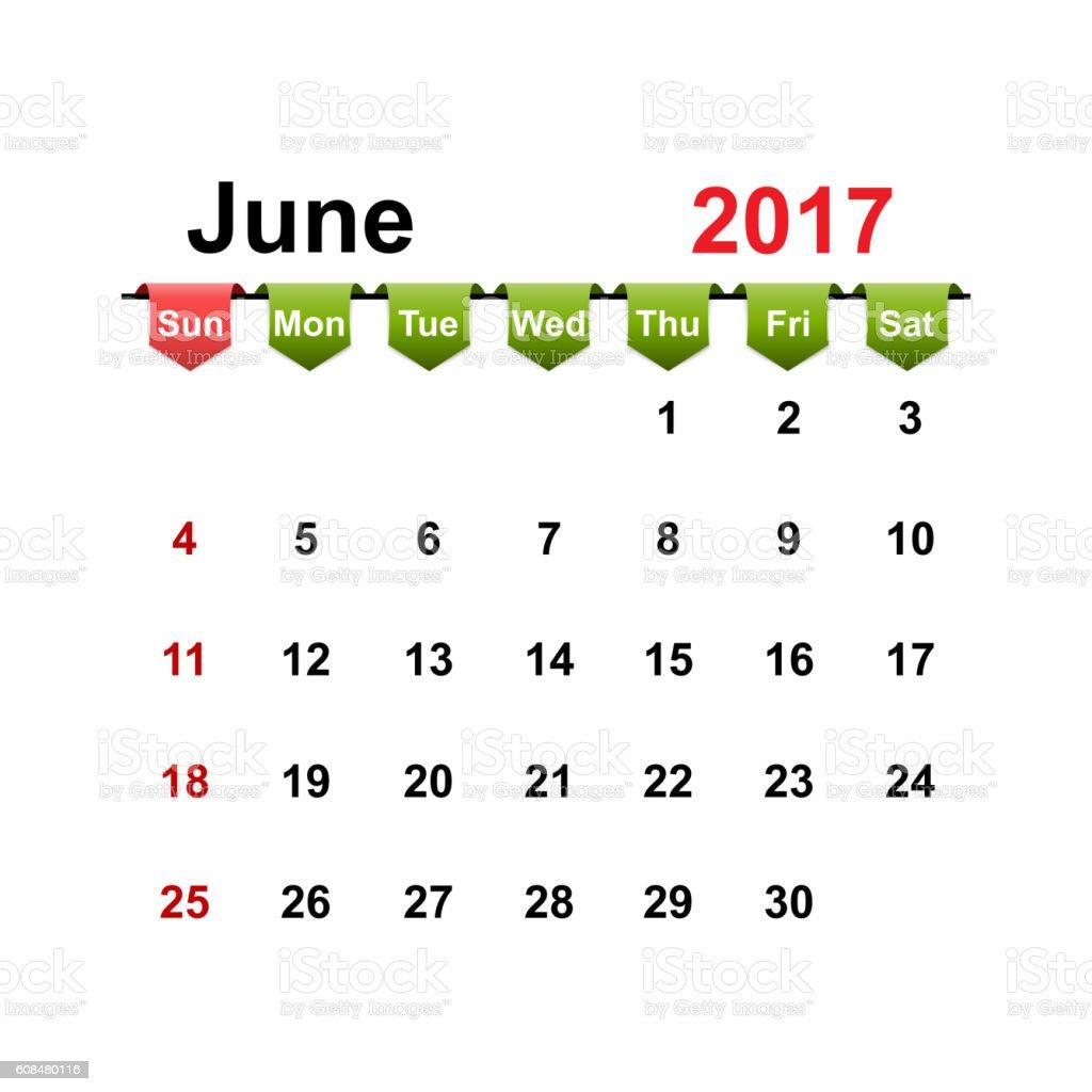 Vector simple calendar 2017 year june month. vector art illustration