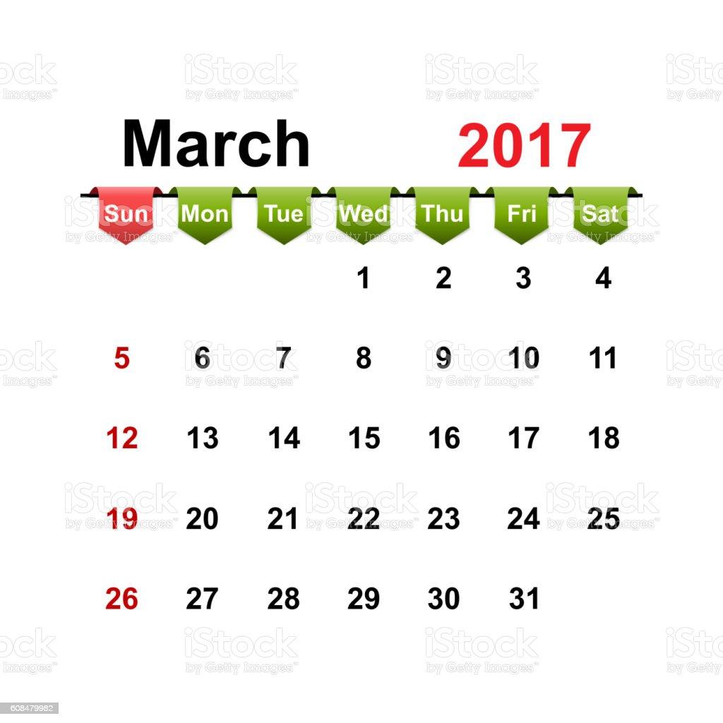 Vector simple calendar 2017 year march month. vector art illustration