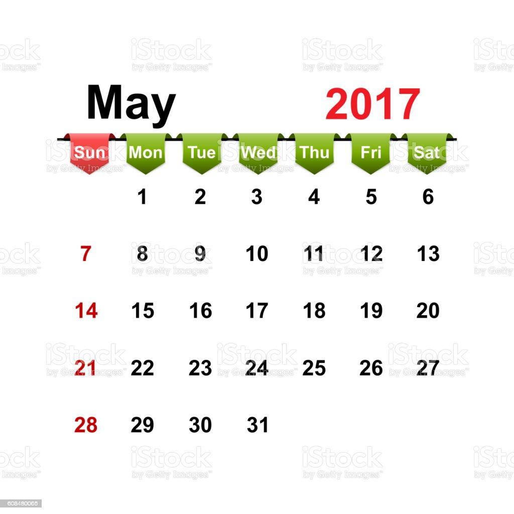 Vector simple calendar 2017 year may month. vector art illustration