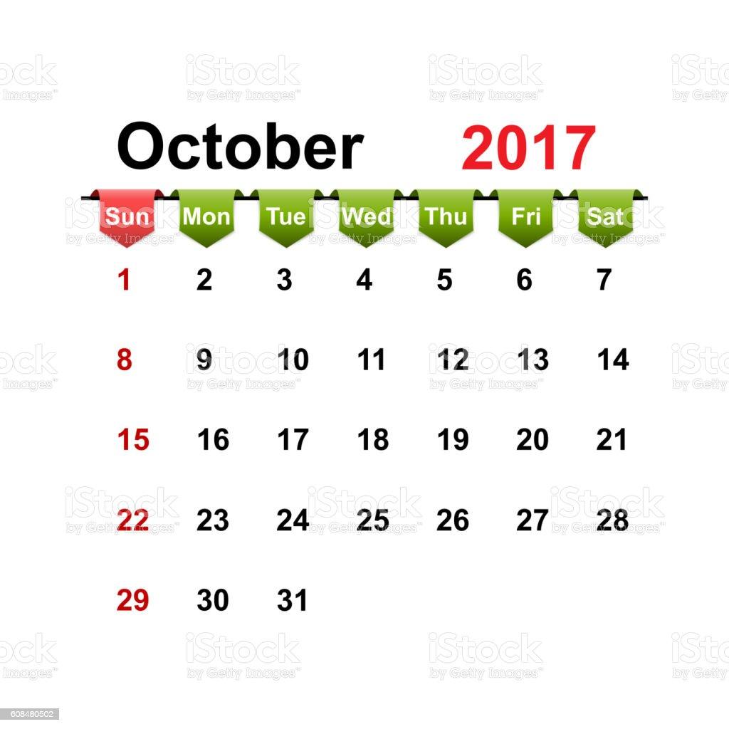 Vector simple calendar 2017 year october month. vector art illustration