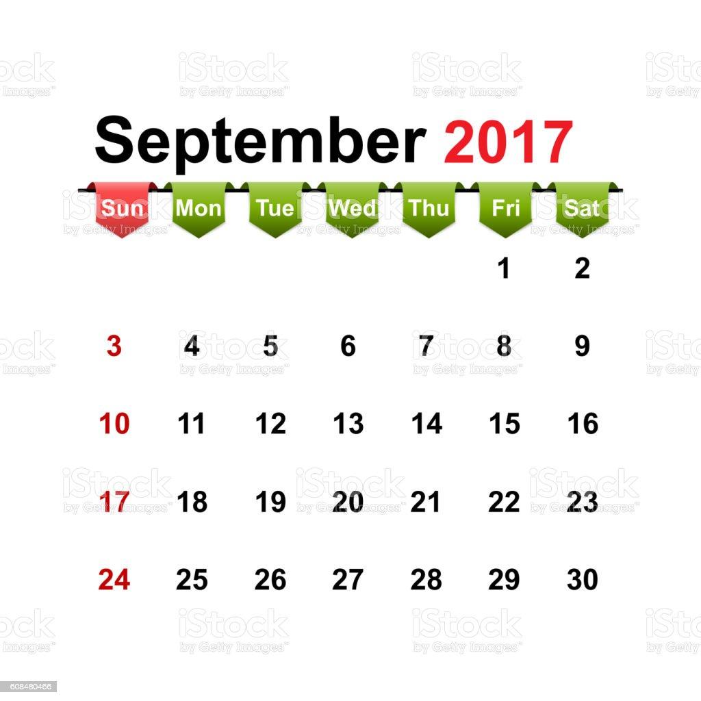 Vector simple calendar 2017 year september month. vector art illustration