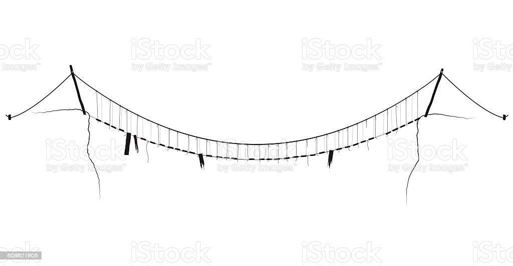 vector simple rope suspension hanging bridge black symbol vector art illustration