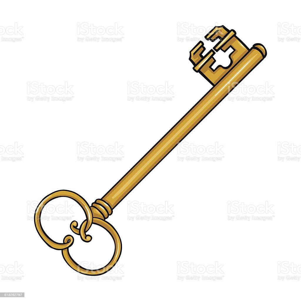 Vector Key Illustration: Vector Single Cartoon Antique Key Stock Vector Art