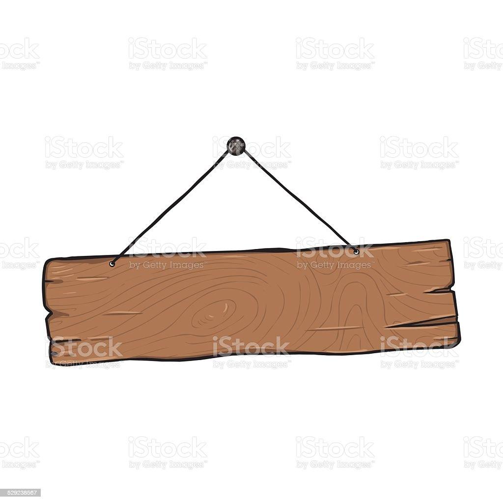 Vector Single Cartoon Wooden Signboard vector art illustration