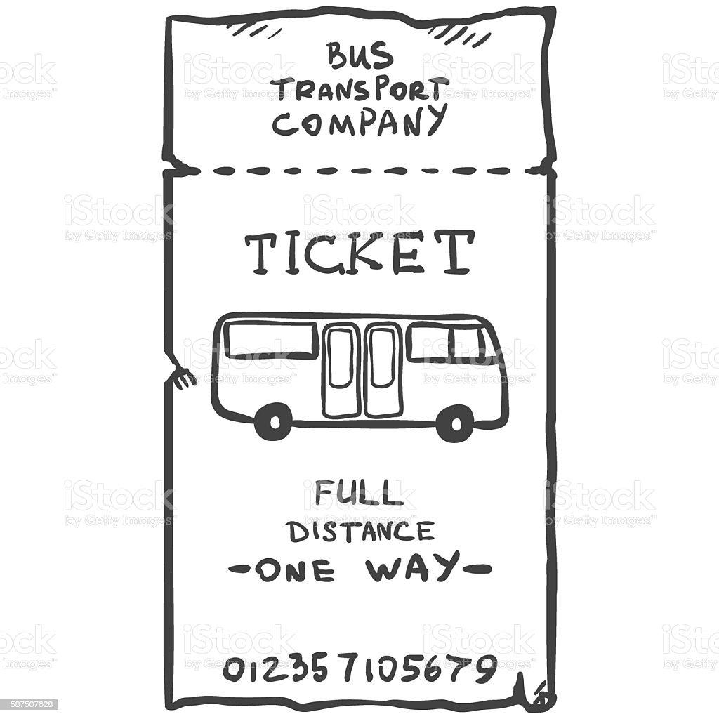 Vector Single Sketch Bus Ticket vector art illustration
