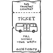 Vector Single Sketch Bus Ticket