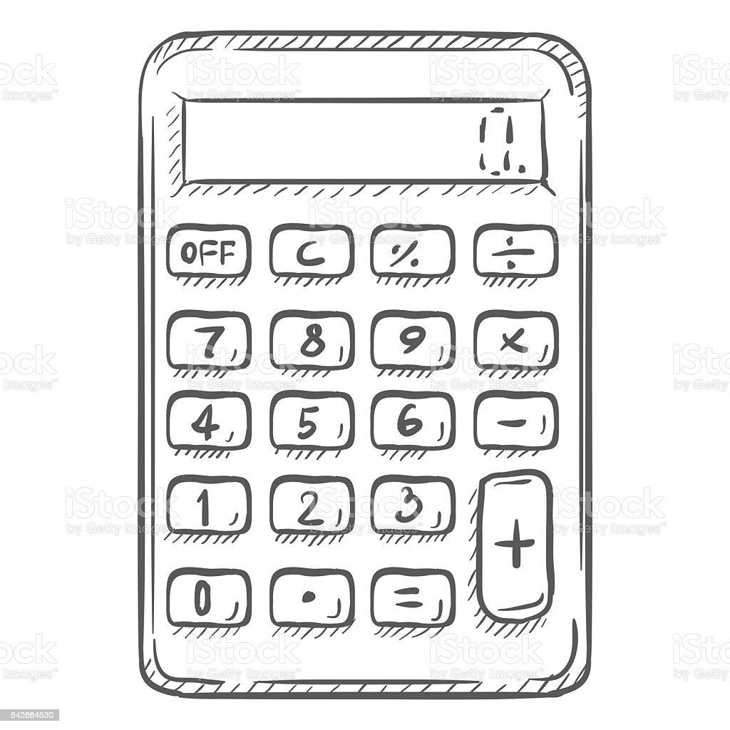Vector Single Sketch Calculator vector art illustration