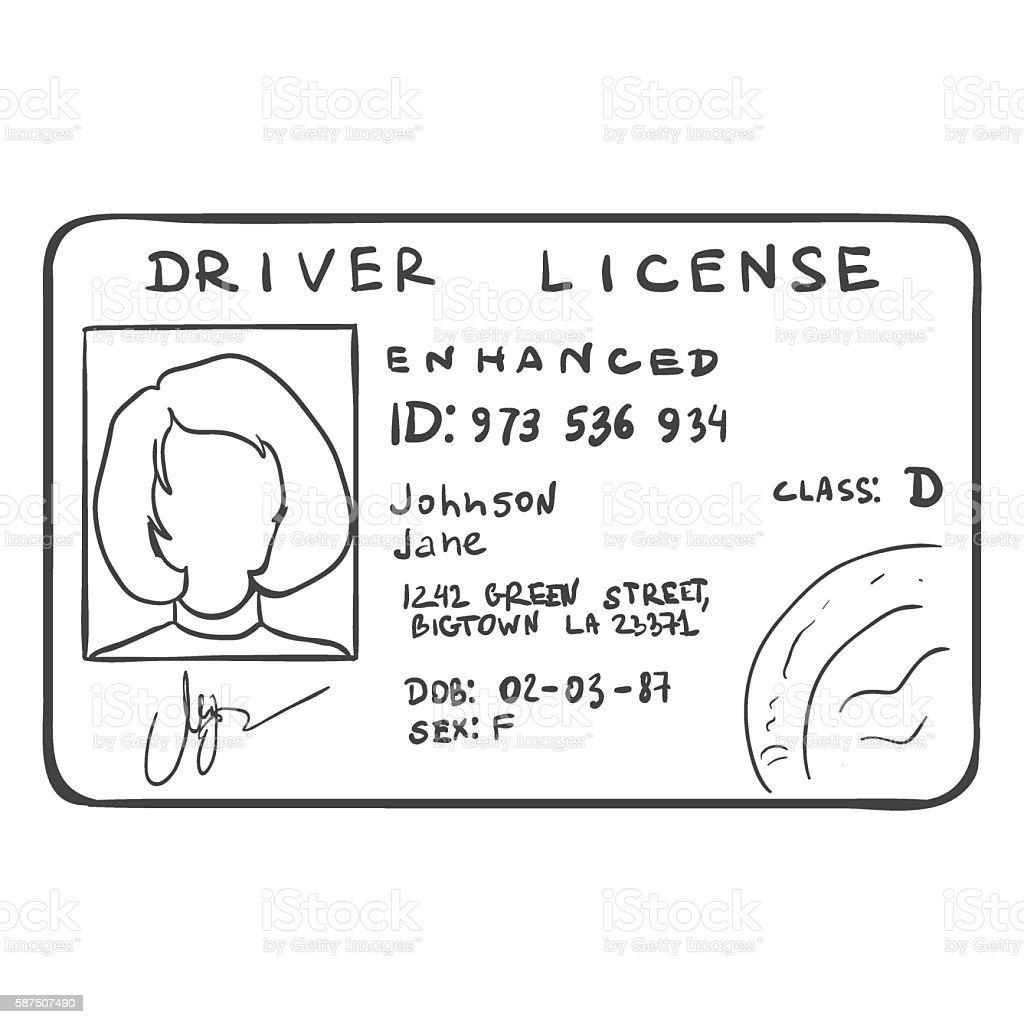 Vector Single Sketch Drivers Licence vector art illustration