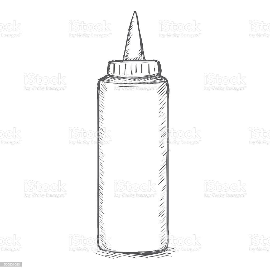 Vector Single Sketch Fast Food Plastic Bottle vector art illustration