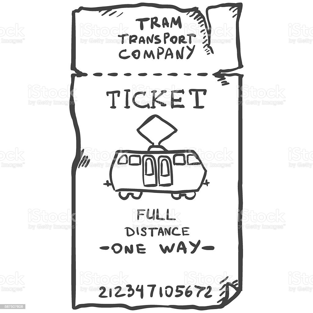 Vector Single Sketch Tram Ticket vector art illustration