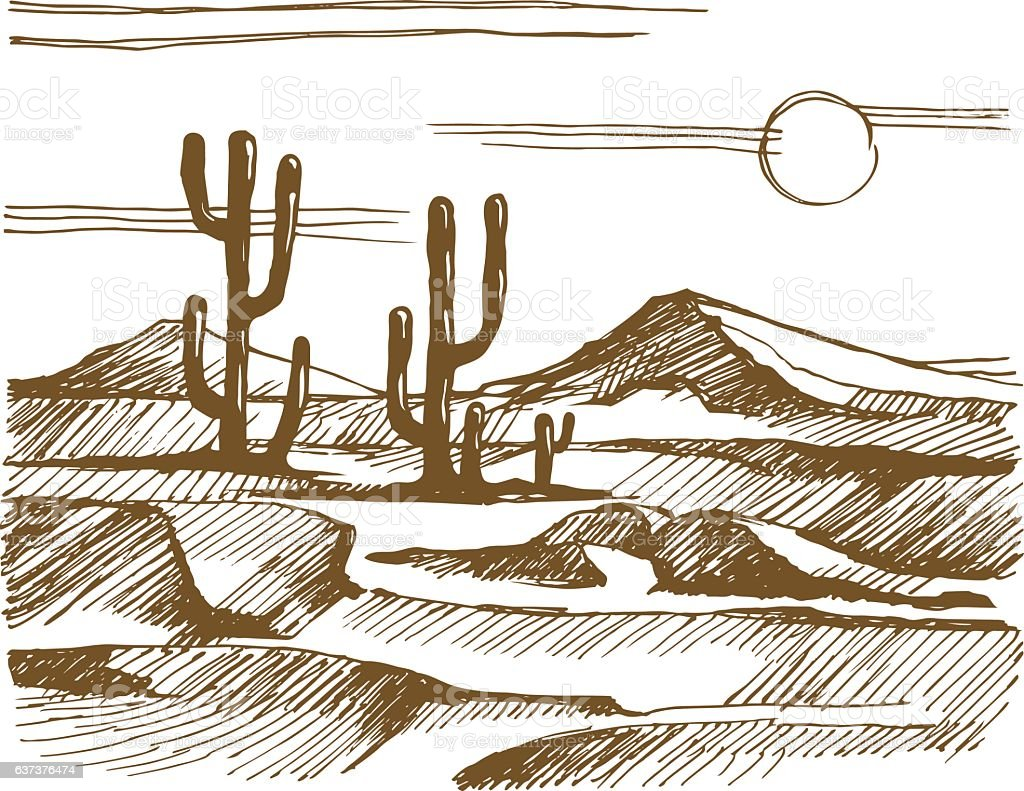 Vector sketch America landscape with cactus vector art illustration