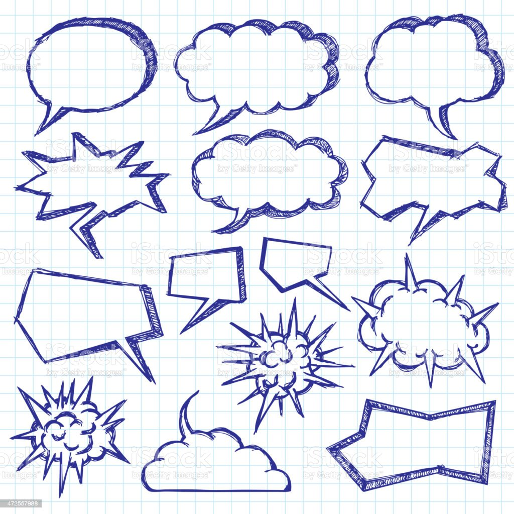 Vector Sketch Background With Speech Bubbles vector art illustration