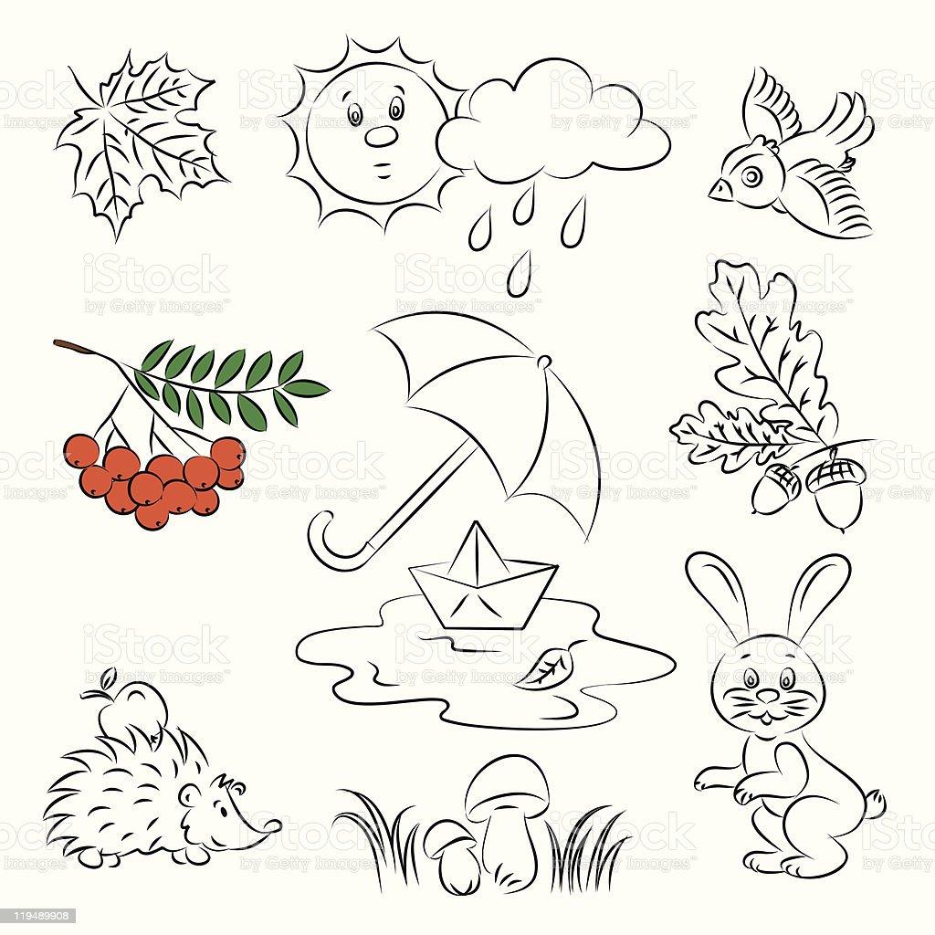 Vector Sketch Clipart Set 'Autumn' royalty-free stock vector art