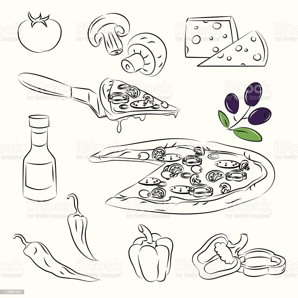Vector Sketch Collection of Pizza and ingredient royalty-free stock vector art