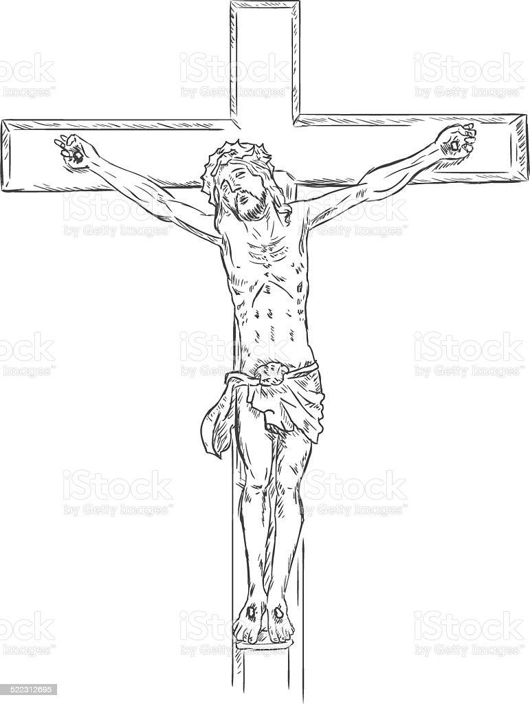 Vector  Sketch Crucifix. Jesus on the Cross. vector art illustration