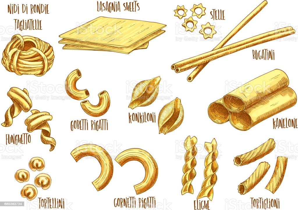 Vector sketch icons of Italian pasta variety vector art illustration