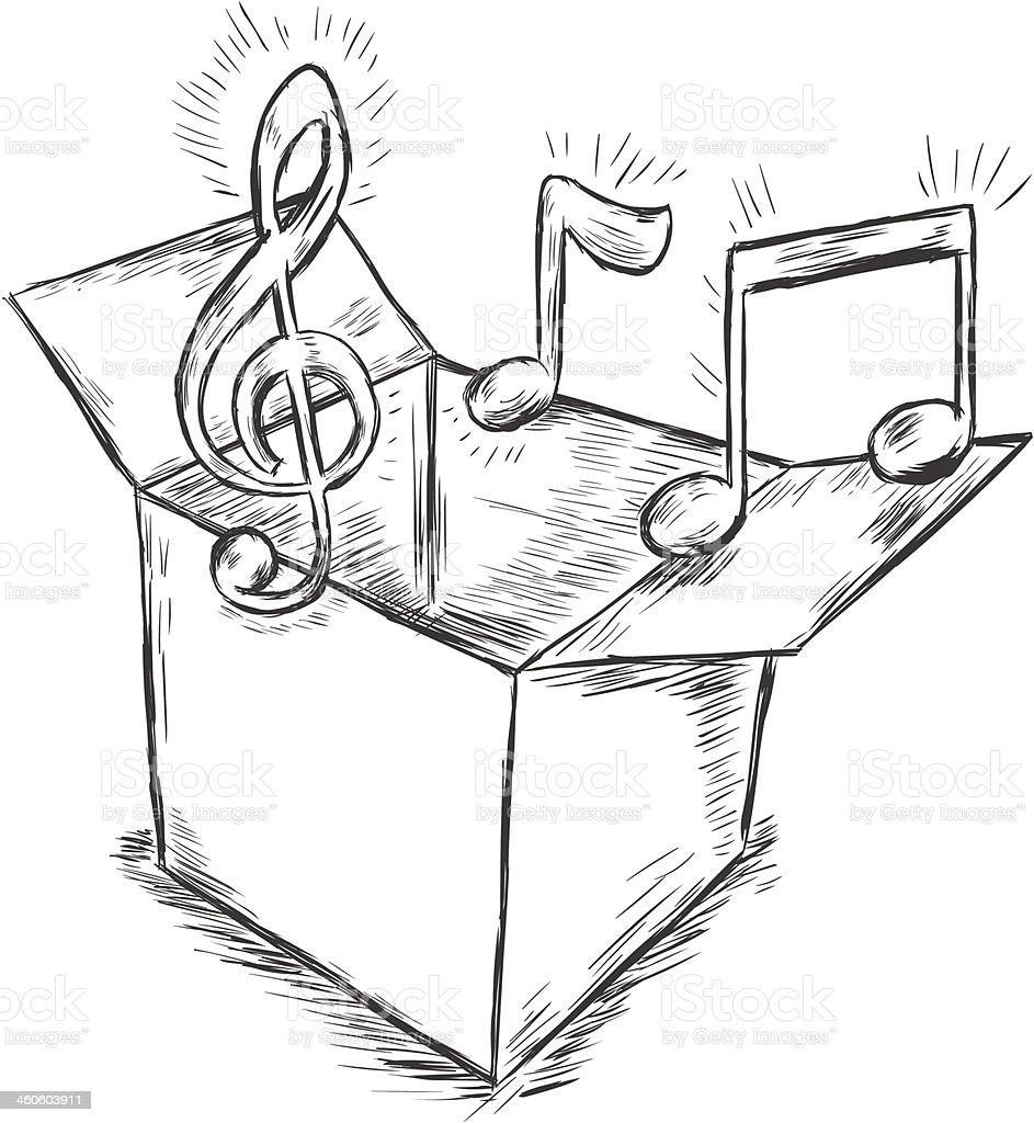 vector sketch illustration - box with music vector art illustration
