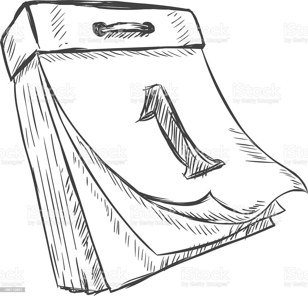 vector sketch illustration - tear-off calendar vector art illustration