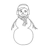 Vector sketch of a Christmas winter snowman