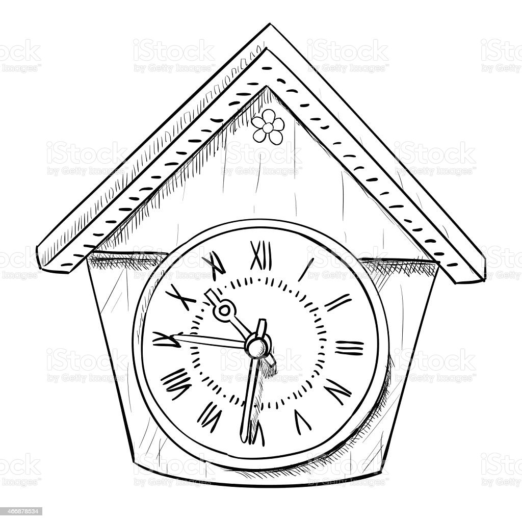 Vector sketch of clock vector art illustration