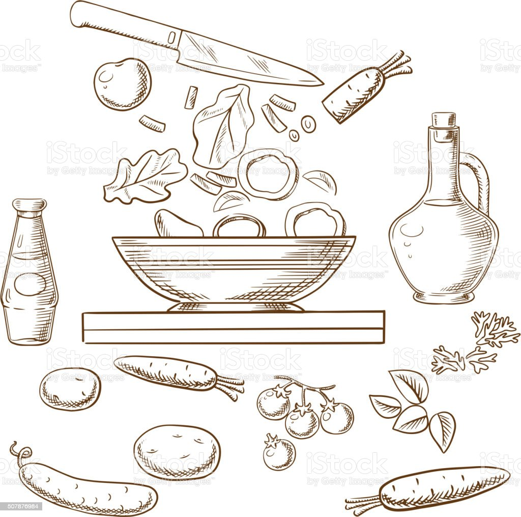 Vector sketch of cooking salad process vector art illustration