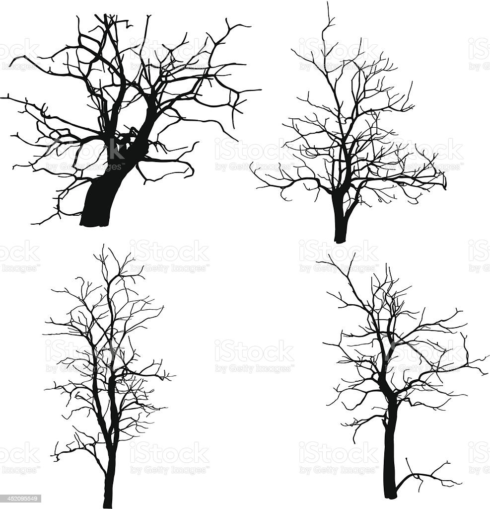 Vector sketch of dead trees royalty-free stock vector art