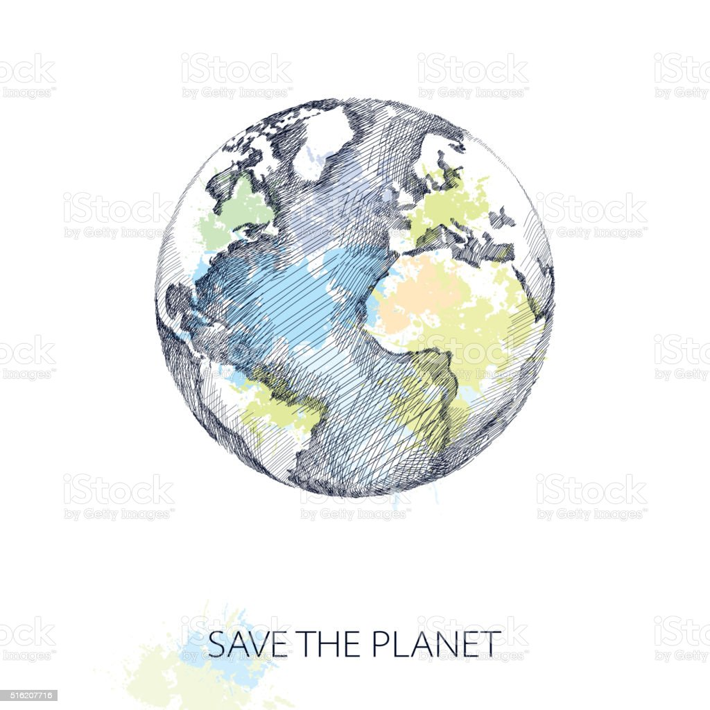 Vector sketch of earth planet in black isolated on white. vector art illustration