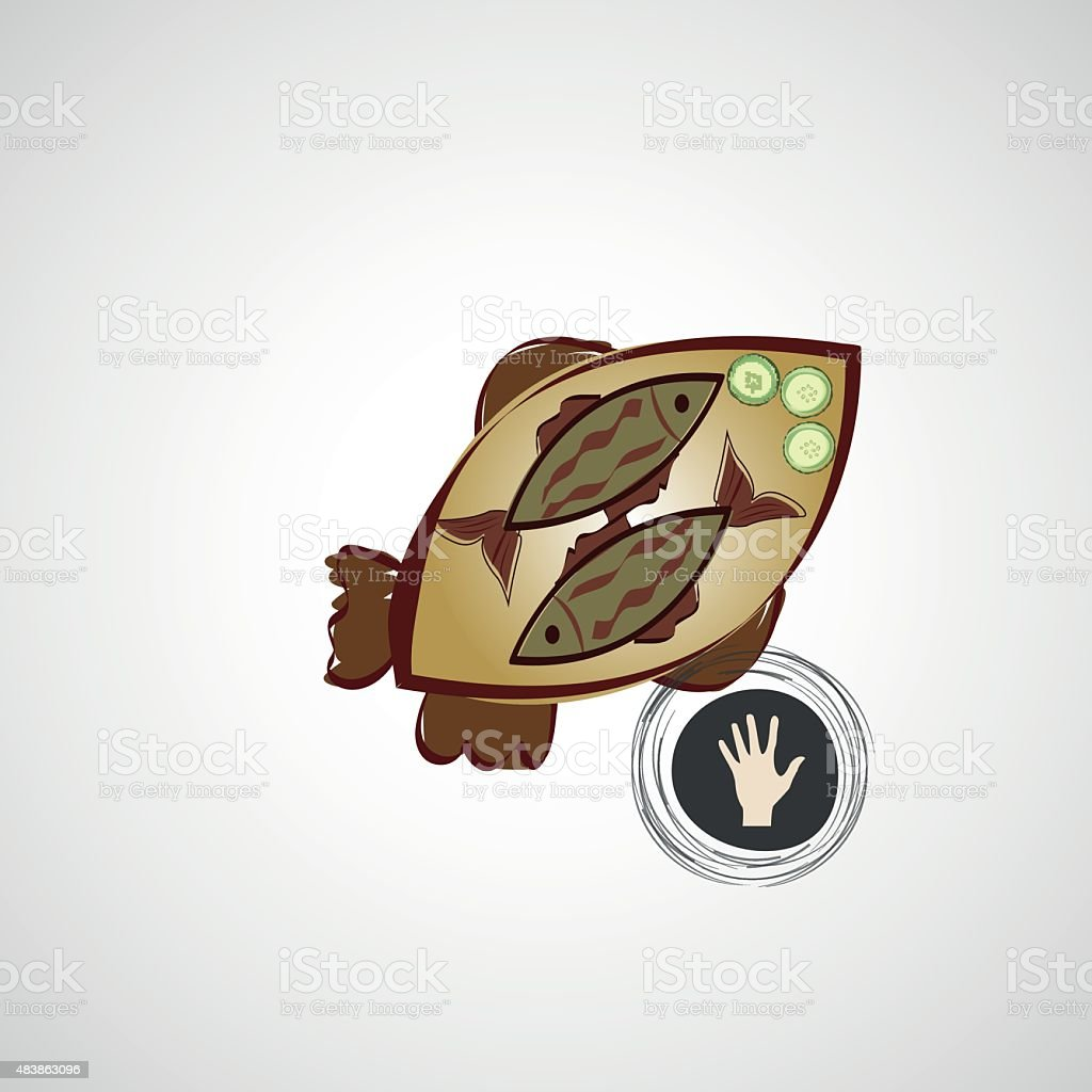 Vector sketch of fried fish on a plate vector art illustration