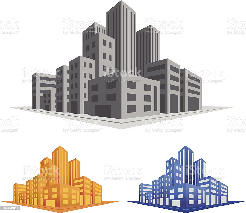 Vector sketch of street with buildings in 3d royalty-free stock vector art