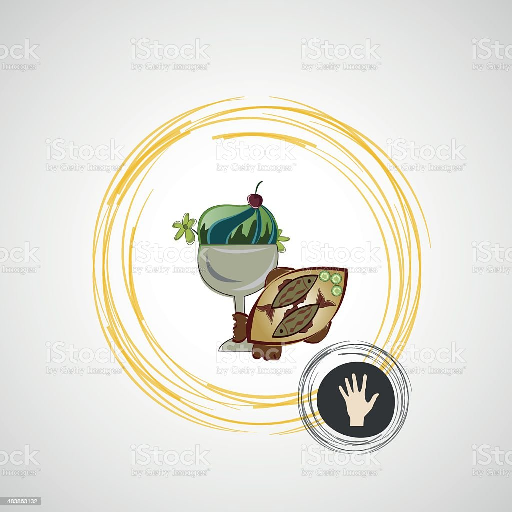 Vector sketch of tasty desserts and fried fish vector art illustration