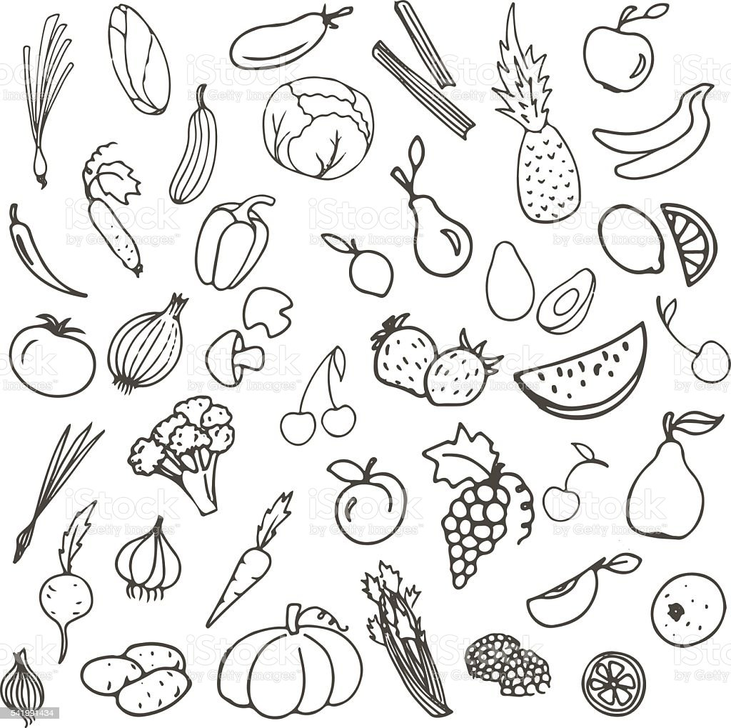 Contour Line Drawing Of Fruit : Vector sketch set contour line of fruits and vegetables