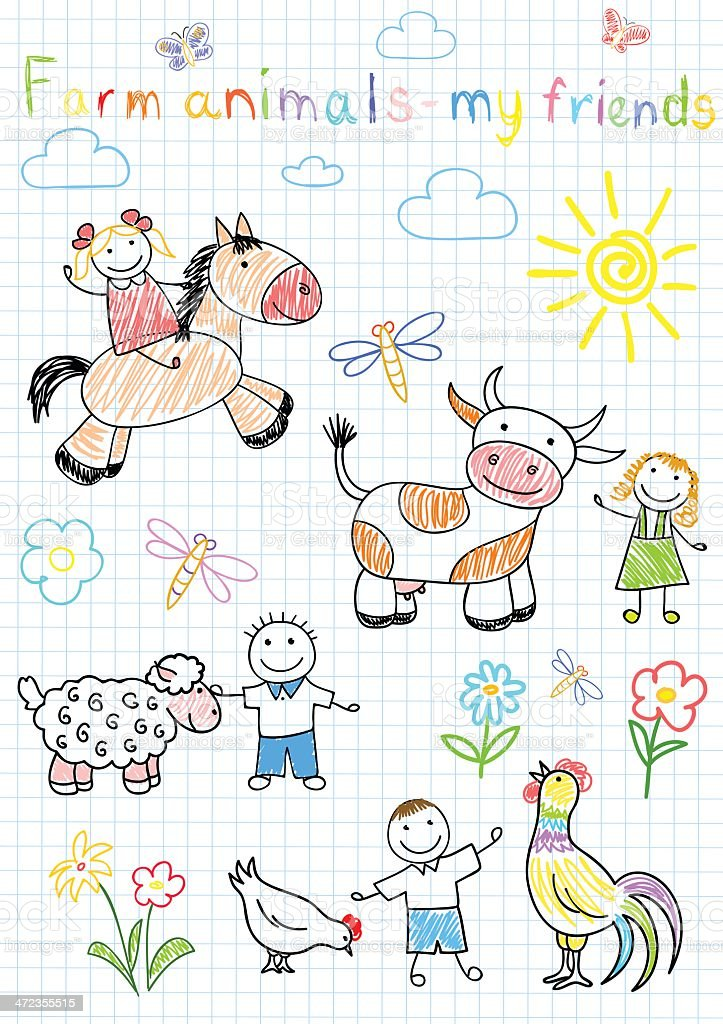 Vector sketches happy children's and farm animals royalty-free stock vector art