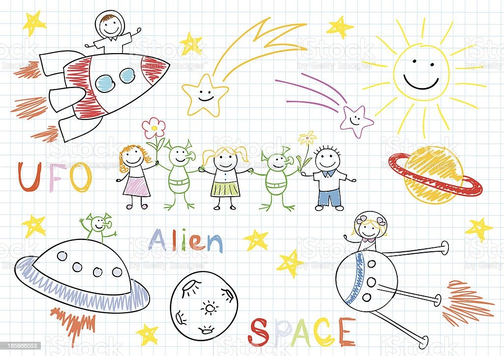 Vector sketches with happy children's and aliens royalty-free stock vector art