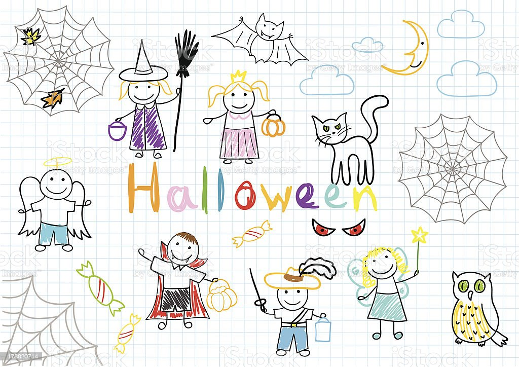 Vector sketches with happy children's royalty-free stock vector art