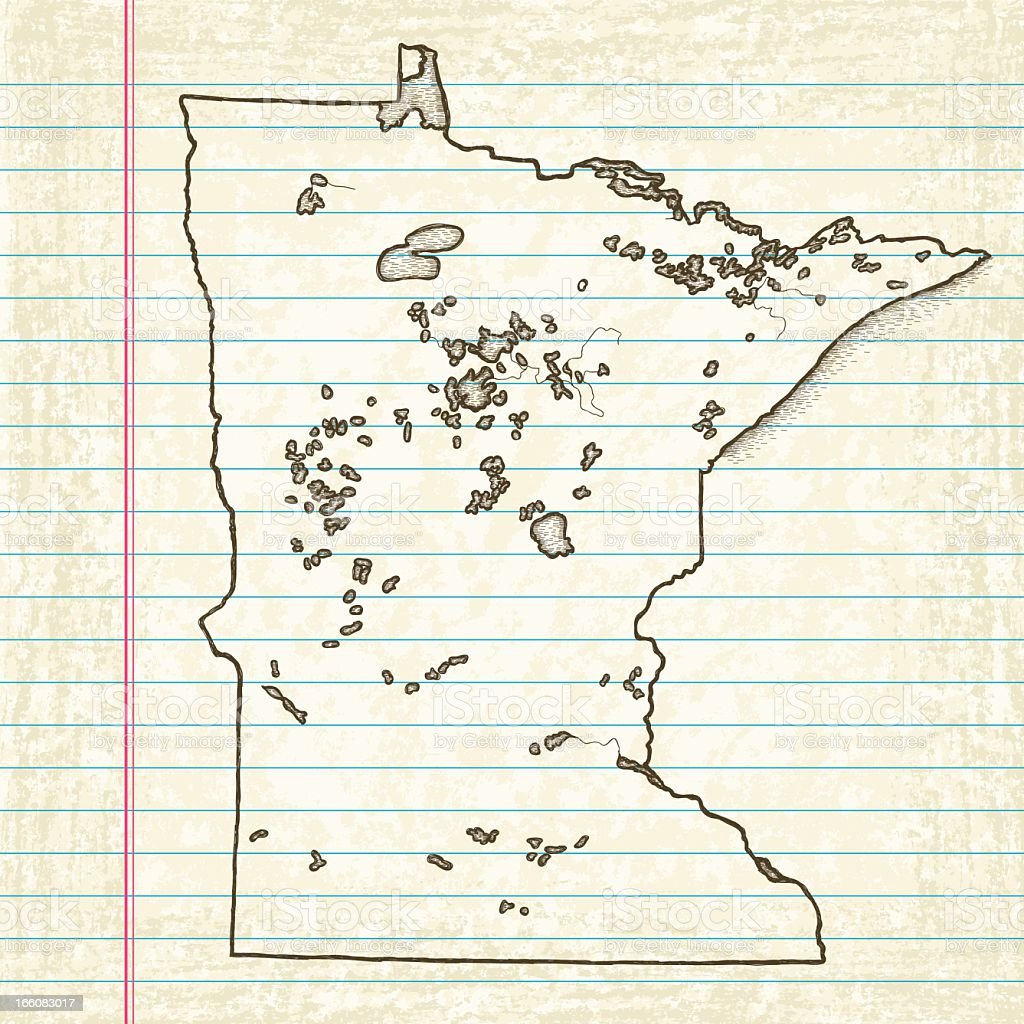Vector Sketchy Map on Old Lined Paper Background. Minnesota. vector art illustration