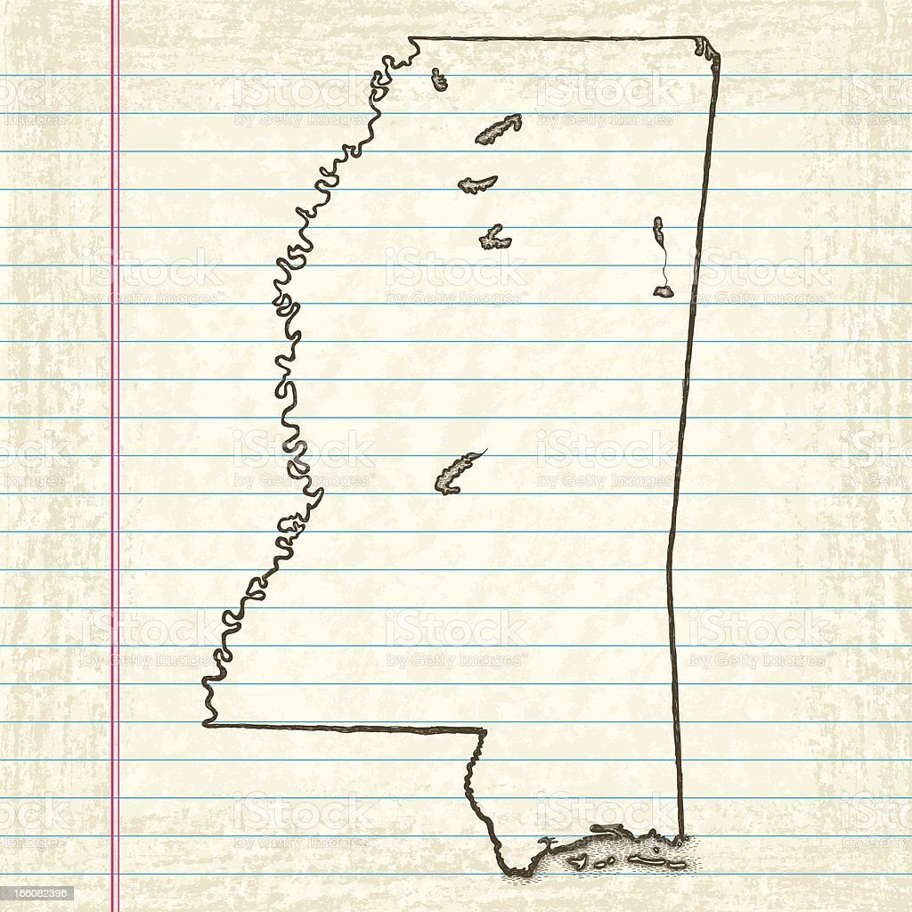Vector Sketchy Map on Old Lined Paper Background. Mississippi. vector art illustration