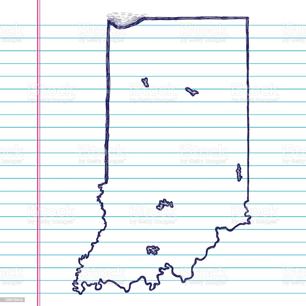 Vector Sketchy Map on White Lined Paper Background. Indiana. vector art illustration